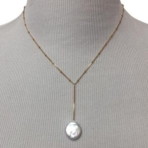 Anthropologie Gold Pearl Drop Lariat Necklace
